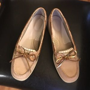 Cute Sperry Beige Suede and Fabric Boat Shoes